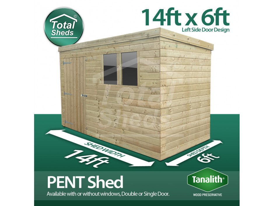 14ft X 6ft Pent Shed