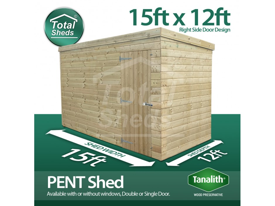 15ft X 12ft Pent Shed