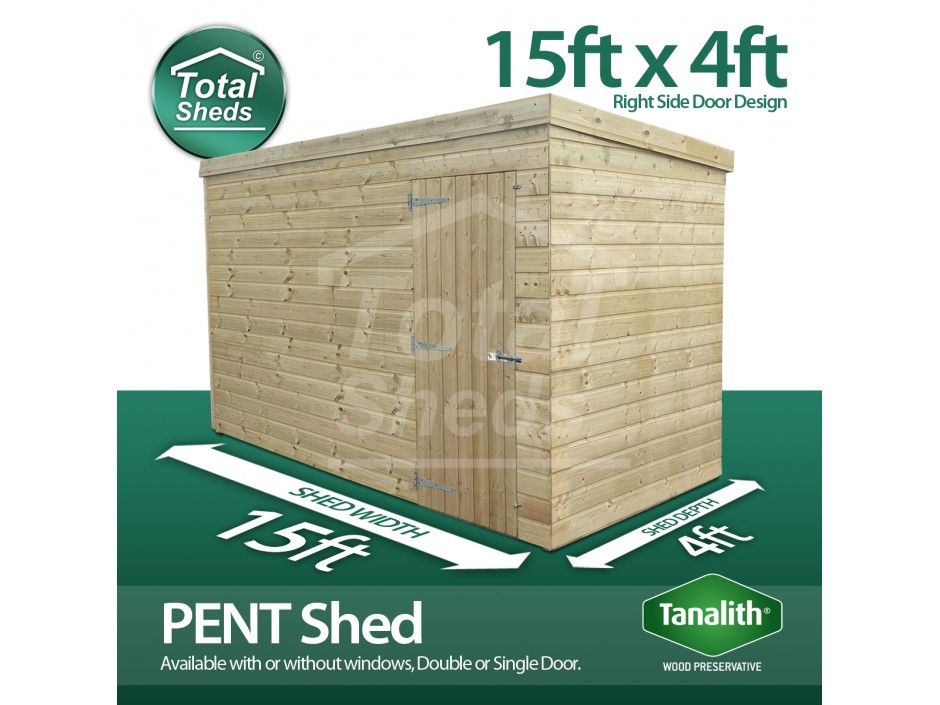 15ft X 4ft Pent Shed
