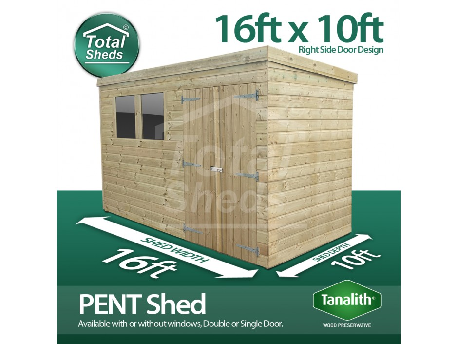 16ft X 10ft Pent Shed