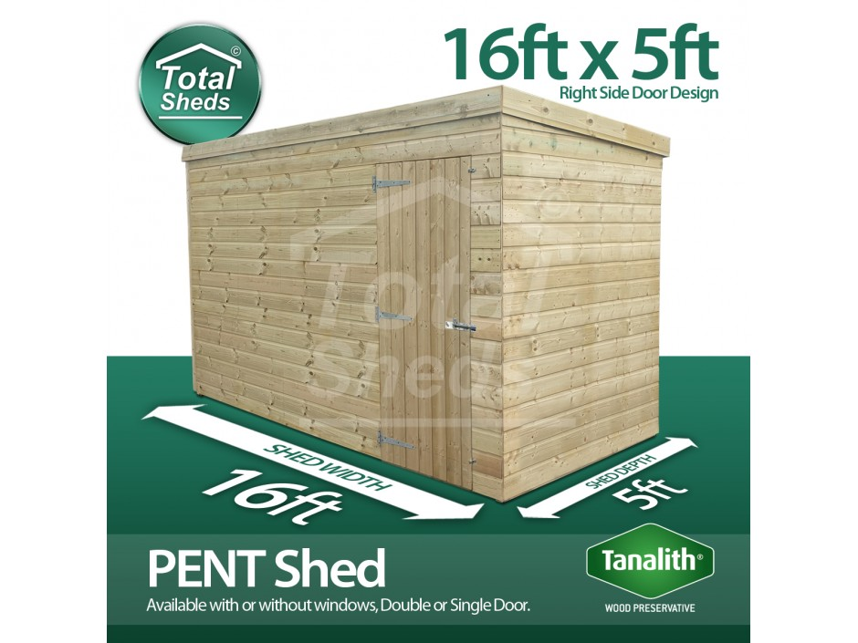 16ft X 5ft Pent Shed