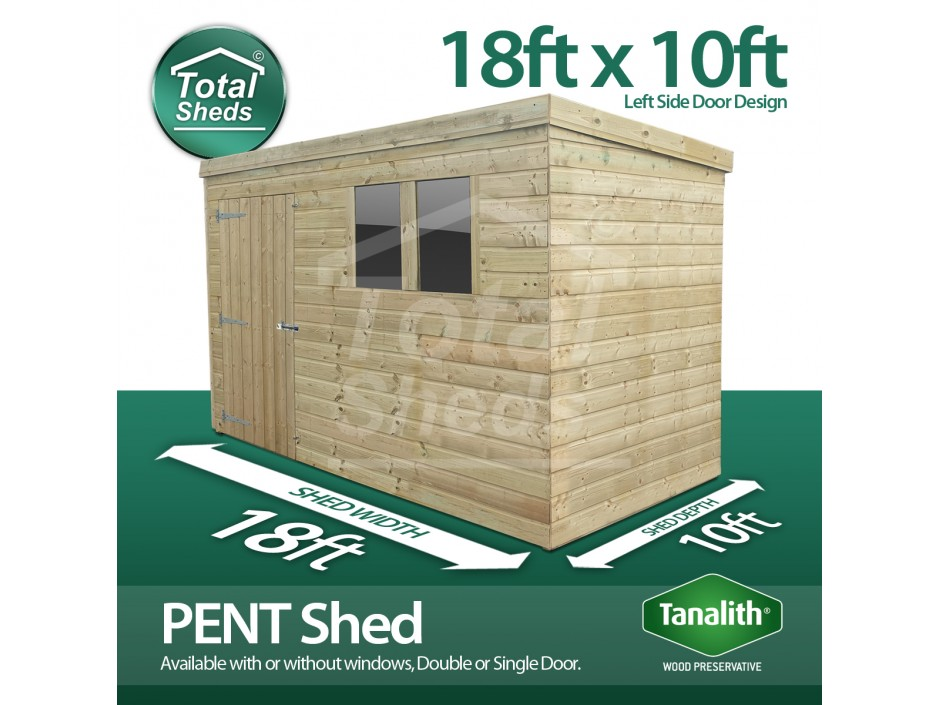 18ft X 10ft Pent Shed