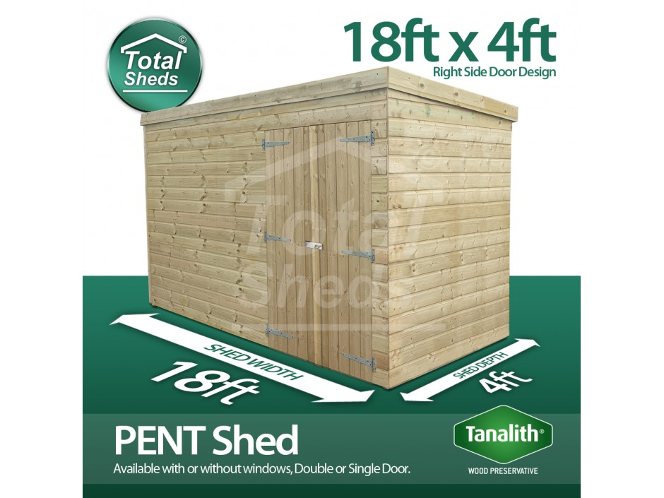 18ft X 4ft Pent Shed