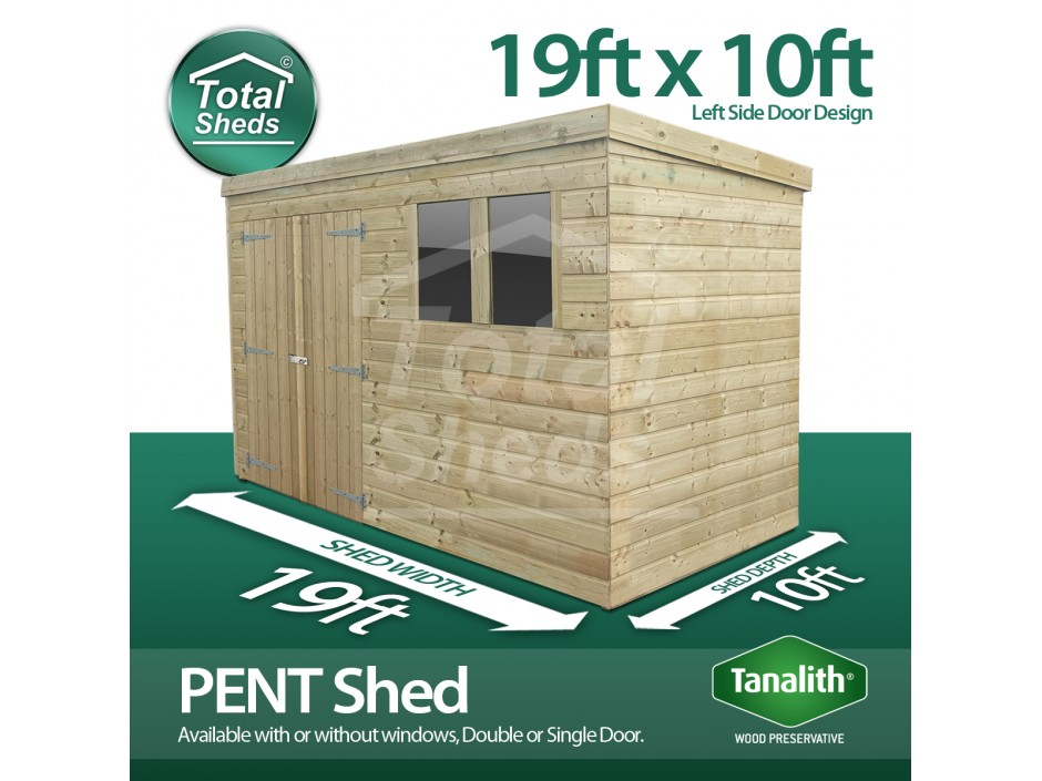 19ft X 10ft Pent Shed