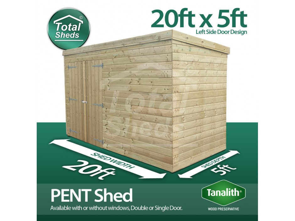 20ft X 5ft Pent Shed