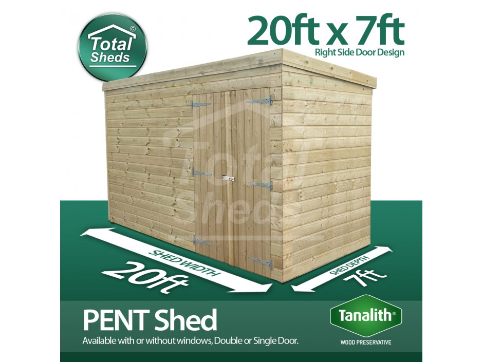 20ft X 7ft Pent Shed