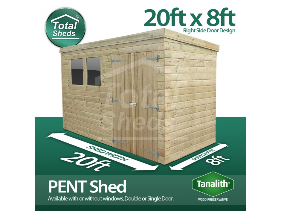 20ft X 8ft Pent Shed