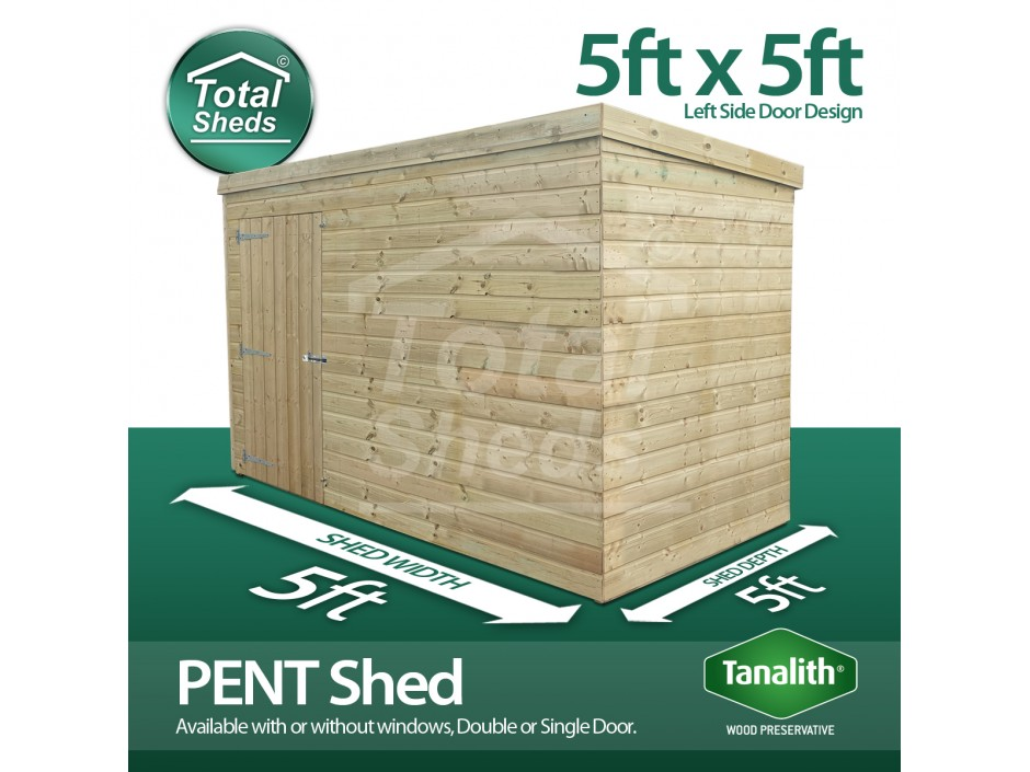 5ft X 5ft Pent Shed