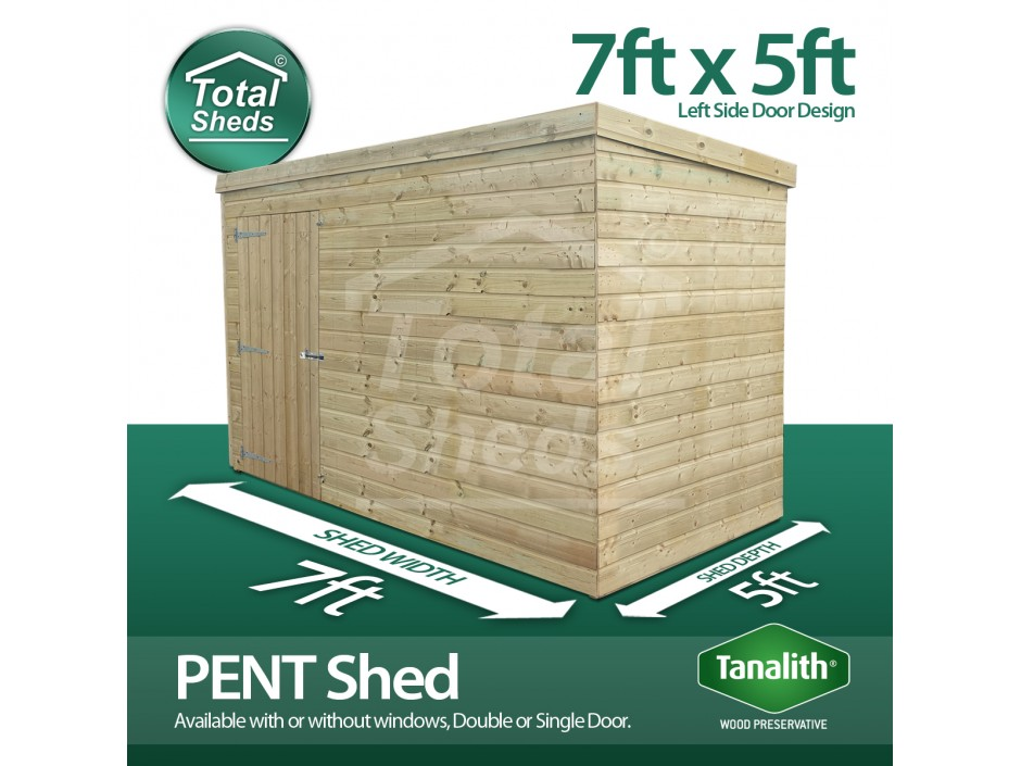 7ft X 5ft Pent Shed