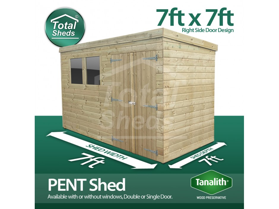 7ft X 7ft Pent Shed