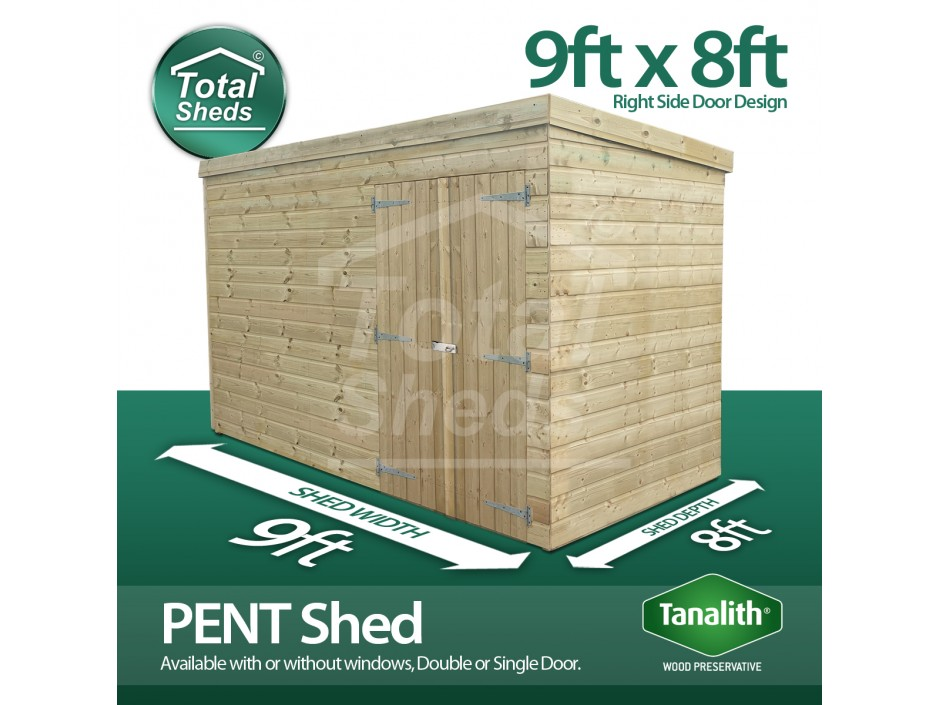 9ft X 8ft Pent Shed
