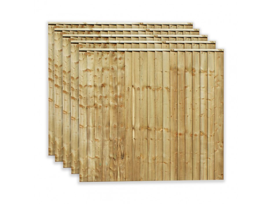 6ft x 3ft Featheredge Closeboard Fence Panels (Pack of 5)