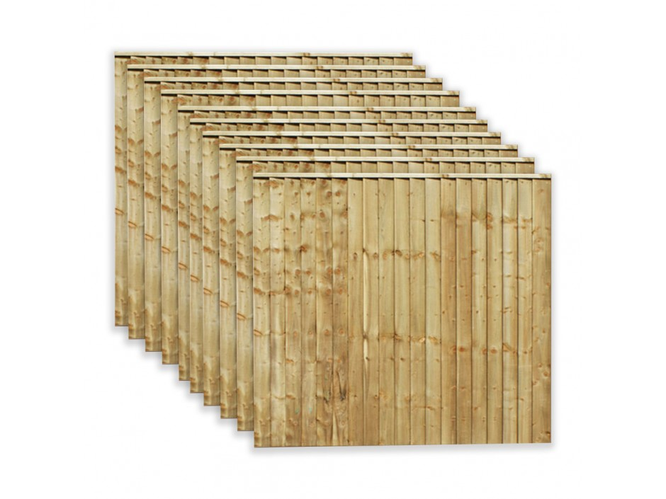 6ft x 6ft Featheredge Closeboard Fence Panels (Pack of 10)