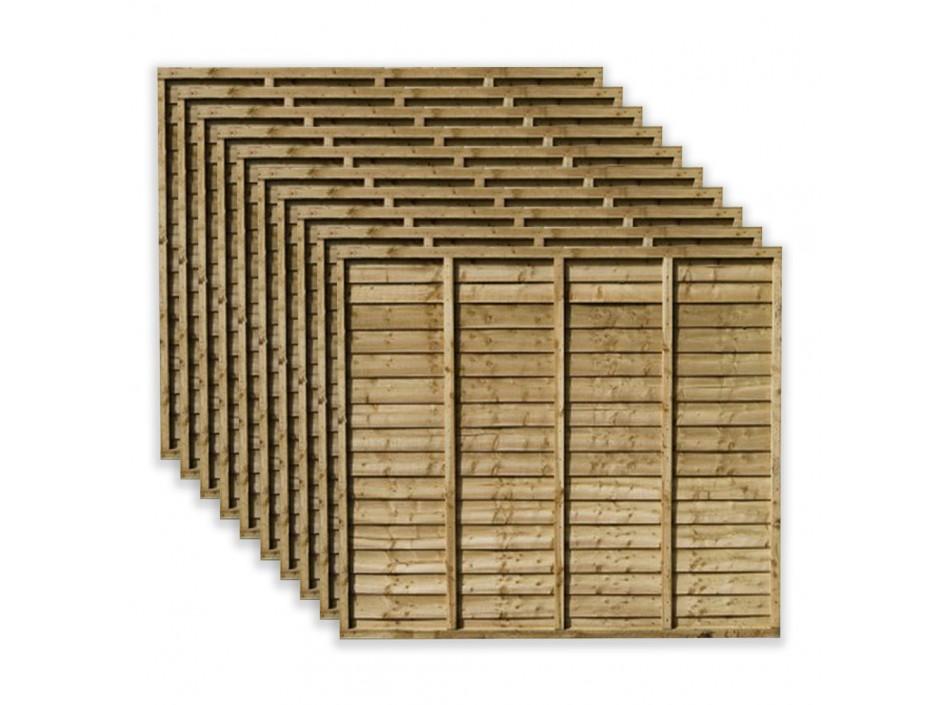 6ft x 6ft Waney Lap Overlap Larch Fence Panels (Pack of 10)