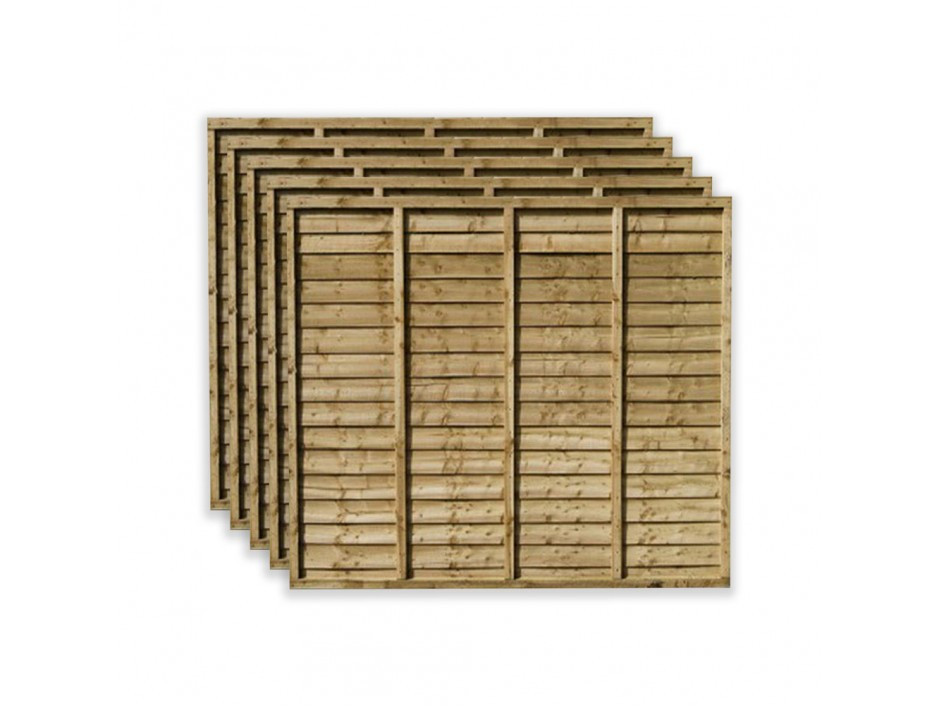 6ft x 6ft Waney Lap Overlap Larch Fence Panels (Pack of 5)