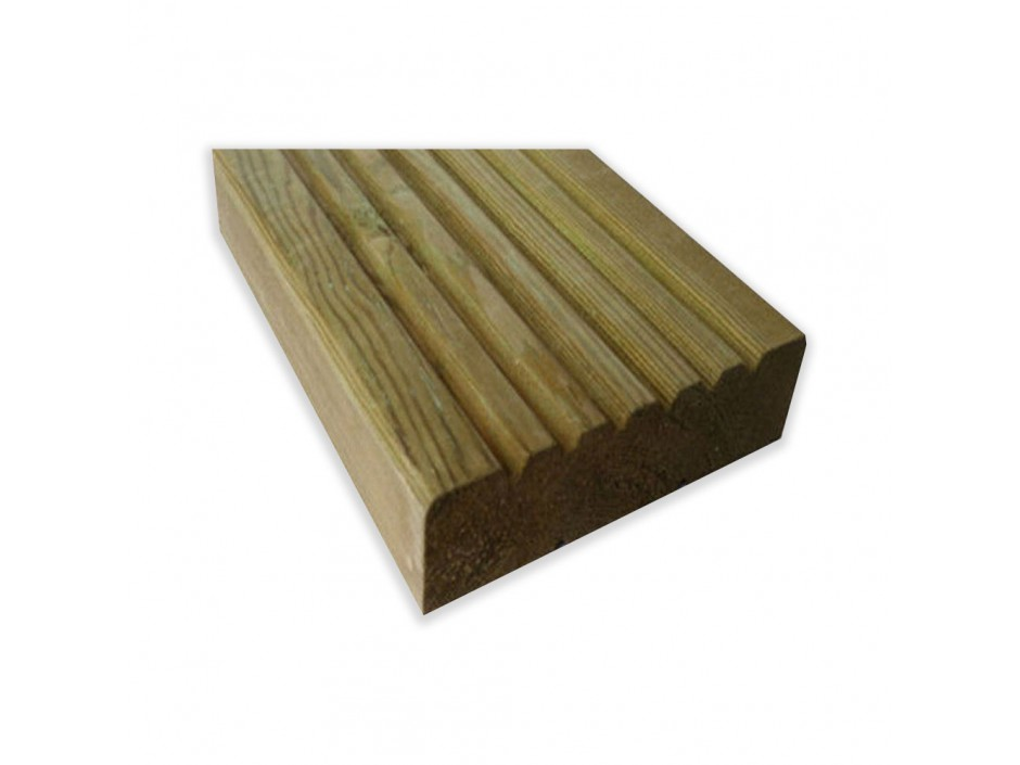 1m x 125mm x 32mm Pressure Treated Tanalised Decking Boards
