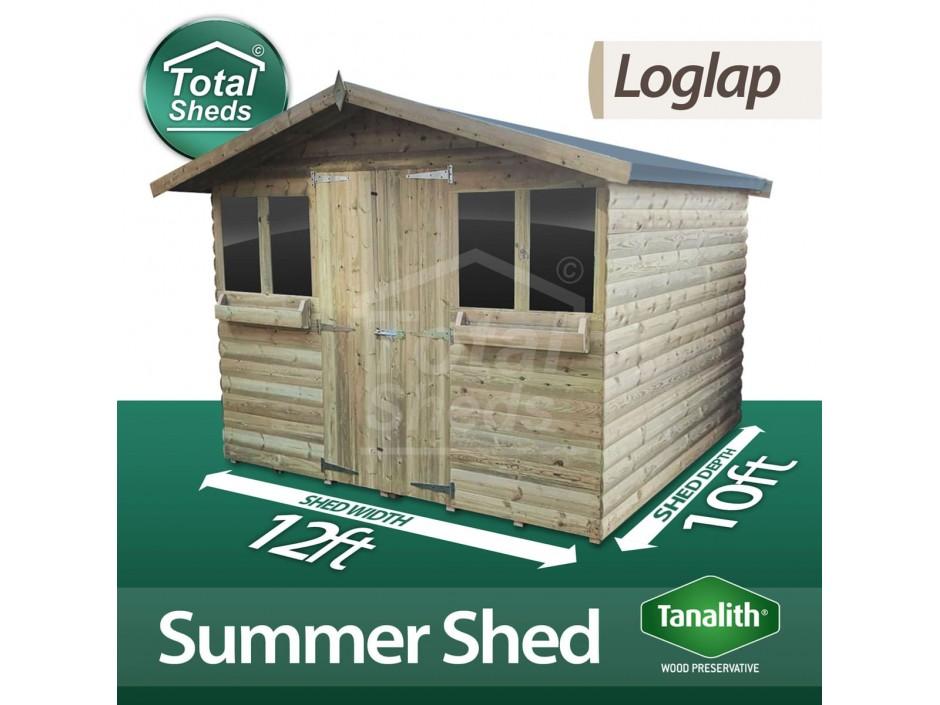 12ft X 10ft Loglap Summer Shed