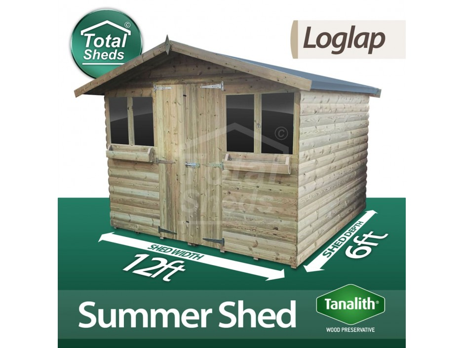 12ft X 6ft Loglap Summer Shed