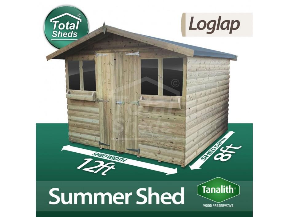 12ft X 8ft Loglap Summer Shed