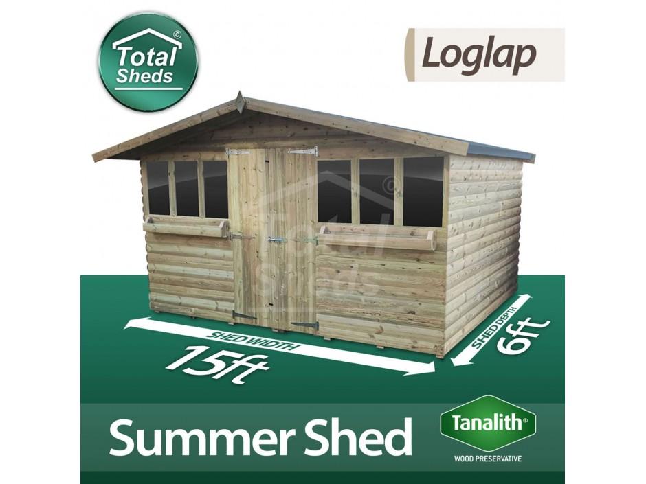 15ft X 6ft Loglap Summer Shed