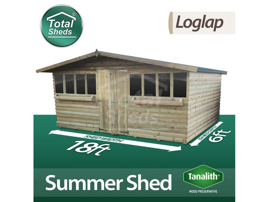 19ft X 6ft Loglap Summer Shed