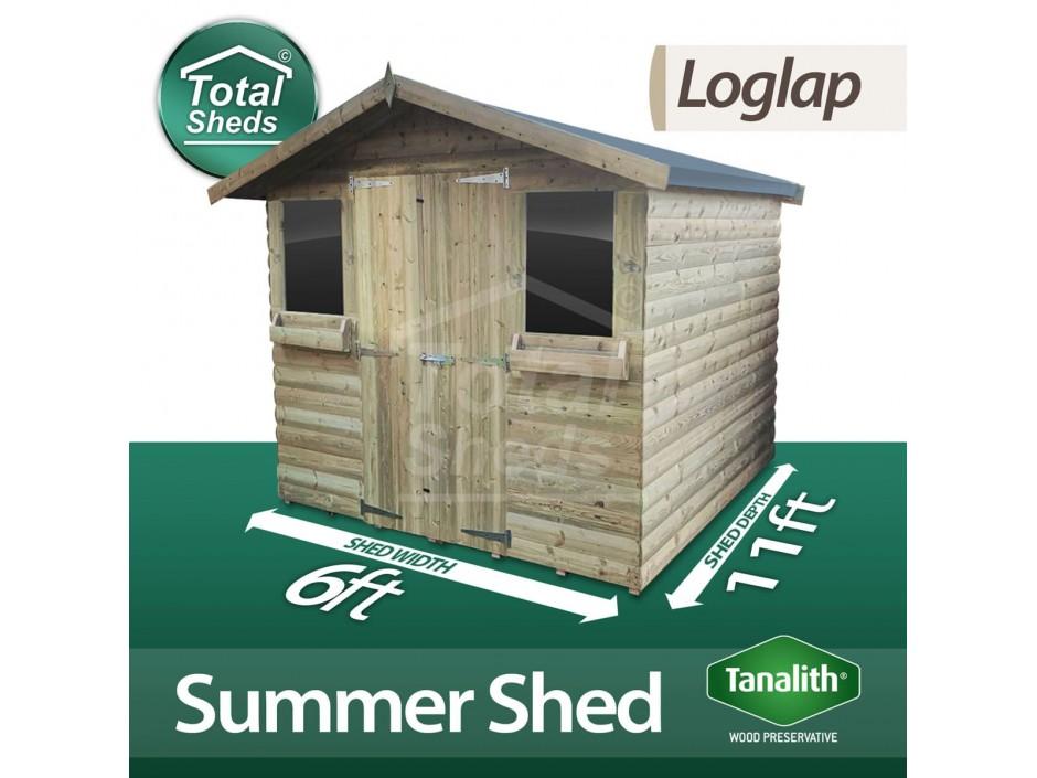 6ft X 11ft Loglap Summer Shed