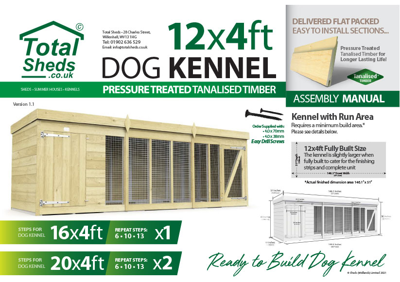 12ft x 4ft F&F Dog Kennel assembly guide