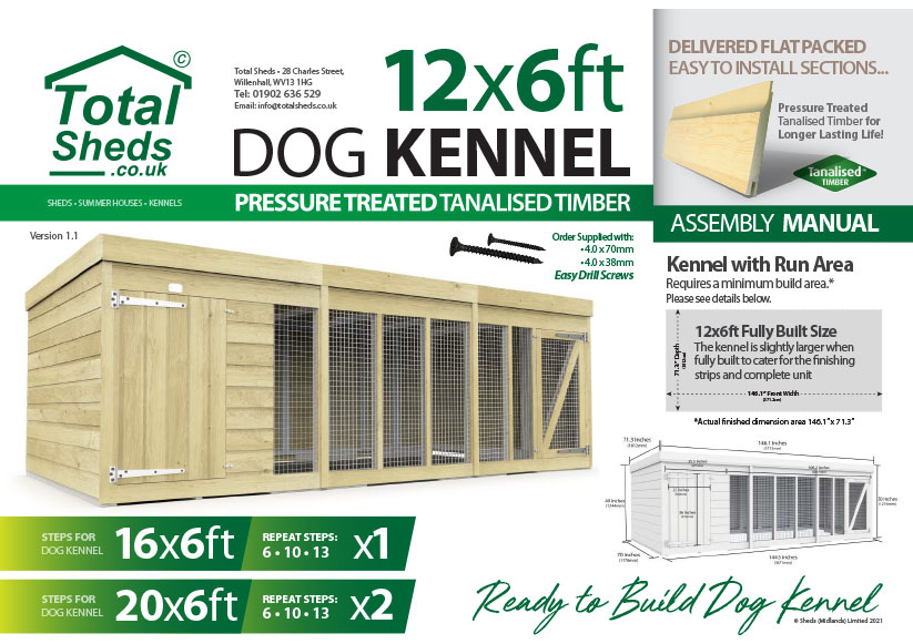 12ft x 6ft F&F Dog Kennel assembly guide