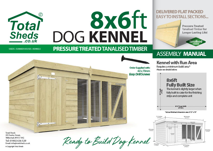 8ft x 6ft F&F Dog Kennel assembly guide